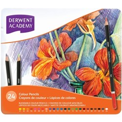 Derwent Academy Coloured Pencils, Tin of 24
