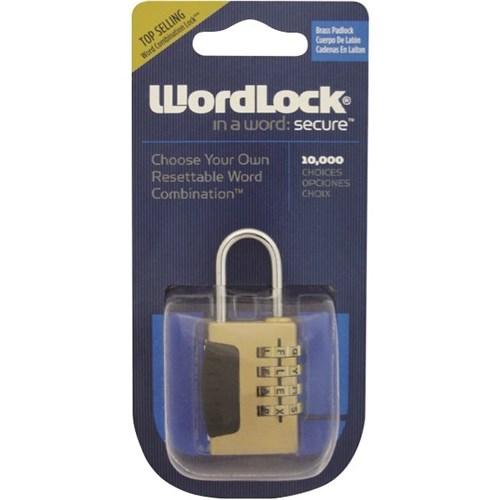 wordlock 4 letter dial brass combination padlock 25mm