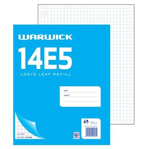 warwick 14e5 graph loose leaf refill 7mm quad 40 leaves