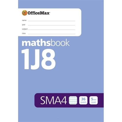 officemax sma4 a4 senior maths book 5mm quad 36 leaves
